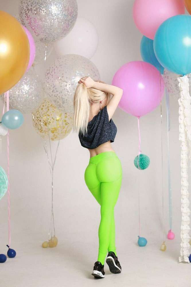 "Лосины Bona Fide: Push-Up ""Acid Green"" 2"