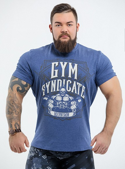 "Футболка DICH: Classic T-Shirt Blue Melanje ""Gym Syndicate"" 1"